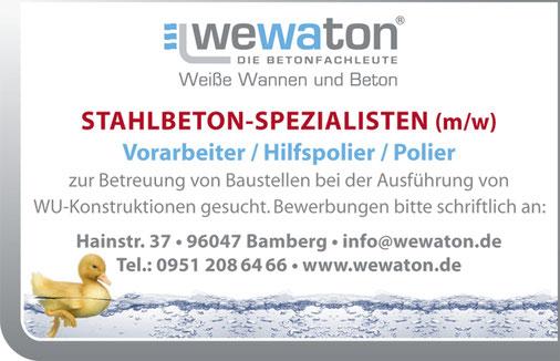 wewaton Stellenanzeige Stahlbeton-Spezialisten Vorarbeiter Hilfspolier Polier