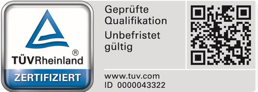 Siegel des TÜV Rheinland zur Zertifizierungs unseres Betriebes.
