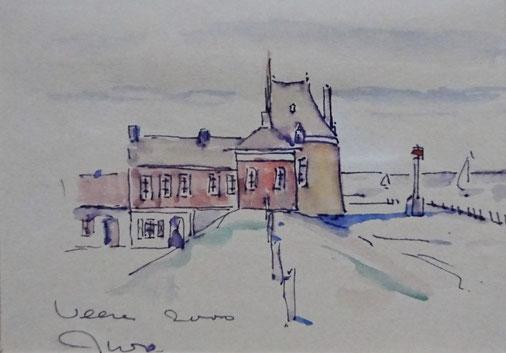 Jan Willem Oosterhoff Veere, arts, aquarel Campveerse toren Veere