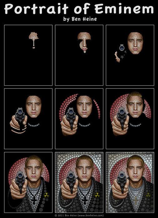 Proceso creación retrato de Eminem