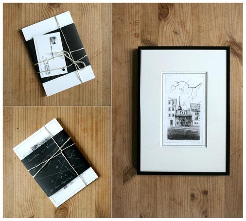 Postkarten-Set. Ansichtskarten. Kunst. Grafik. Zeichnung
