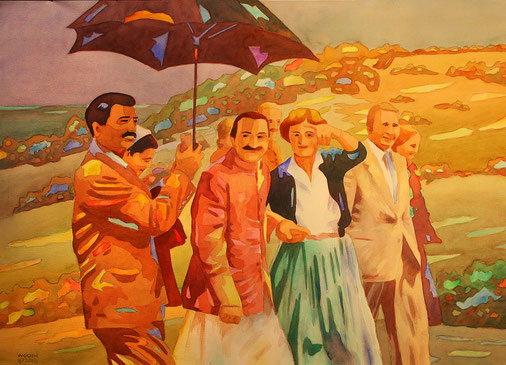 Meher Baba at Meher Mount with Agnes Baron. Eruch holding the umbrella.