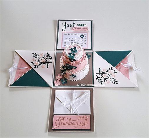 #Explosionsbox #Hochzeit #Hochzeitstorte #Geldgeschenk #stempelliese.com #stampinup