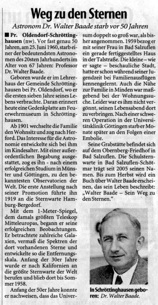 Ausschnitt aus der Neuen Westfälischen Zeitung vom 30.Juni 2010