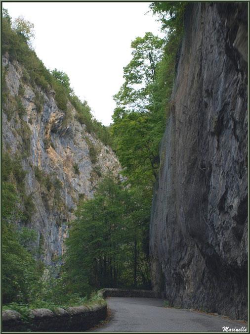 Passage au coeur de la montagne sur la route direction Eaux-Chaudes et Gabas, Vallée d'Ossau (64)