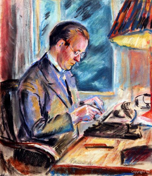 Erwin Bowien (1899-1972): Der Redakteur Hanns Heinen in seinem Arbeitszimmer in der Bertramsmühle in Solingen, 1930