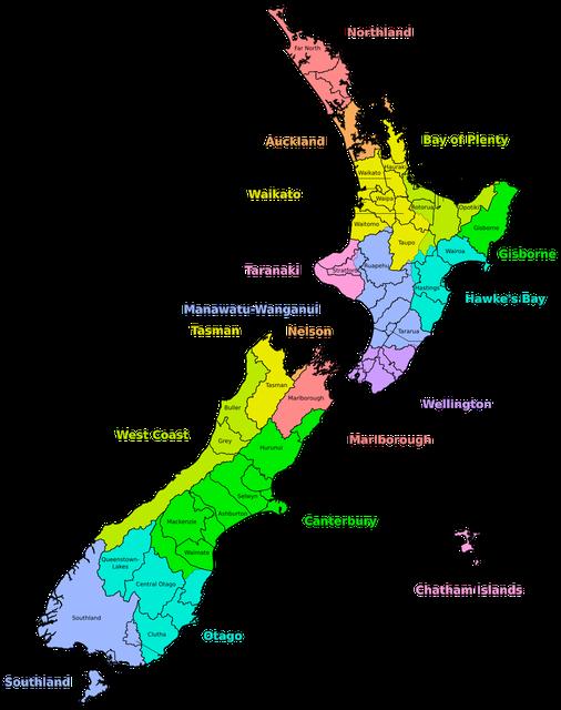 New Zealand, Neuseeland, Südinsel, Nordinsel, Northisland, Southisland, Regionen nach Farben