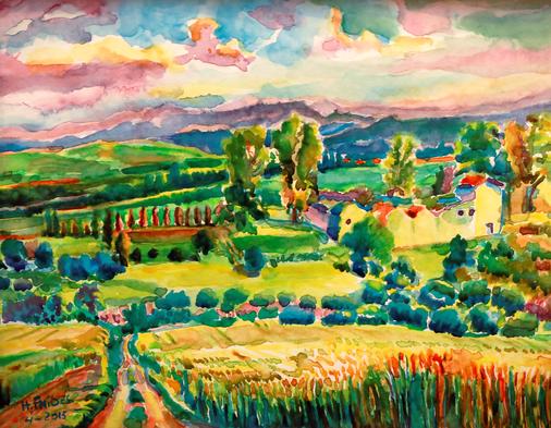 Hocine Fnides: Landscape near Guelma in Algeria, watercolor 2013