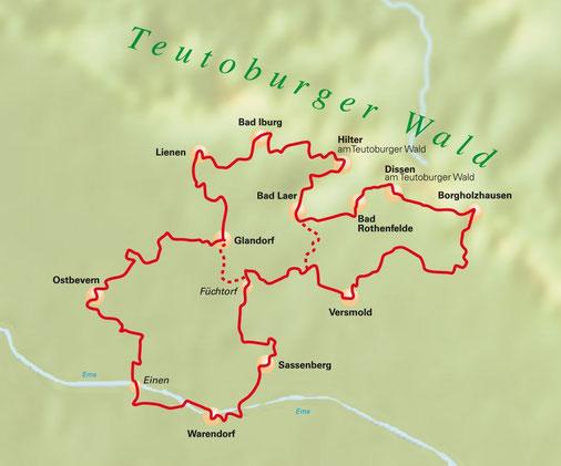 Übersichtsplan Grenzgängerroute Teuto-Ems