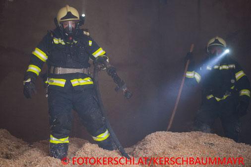 Feuerwehr, Blaulicht, Brand, Sägespänebunker, Holzverarbeitungsbetrieb, Schlierbach