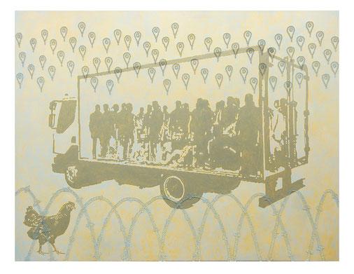 JOHANNES KRIESCHE, empatia mancante, 220 x 170 cm, Öl und Glaskugeln auf Leinwand, 2016