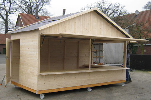Markthütte Einzelanfertigung, mit zusätzlicher seitlicher Verkaufsöffnung und auf Rollen
