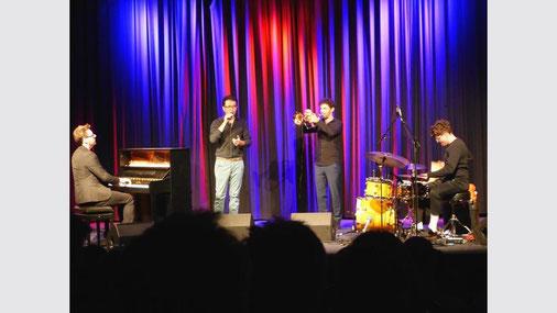 """""""Masaa"""" sollte man sich merken: Seit 2012 spielen die vier Musiker zusammen, (v.l) Clemens Pötzsch, Rabih Lahoud, Markus Rust, Demian Kappenstein (Foto: Dorothee L. Schaefer)"""