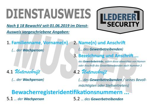 Dienstausweis für Sicherheitsmitarbeiter mit hellblauer und dunkelblauer Schrift und einem Logo, auf dem LEDERER_security steht. Was alles darauf stehen muss, das schreibt die Bewachungsverordnung vor.