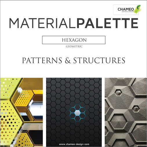 Material palette CMF color material design geometric hexagon patterns structures