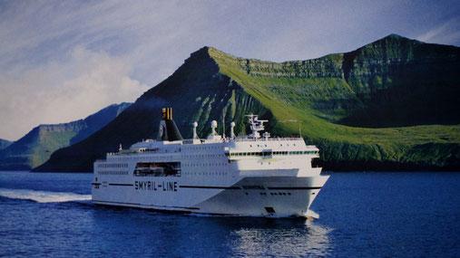 Unser Fähr-Schiff Norröna:                  Bildquelle: Smyril – Prospekt