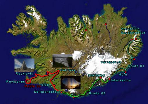 Route: 03 Vom Seljalandfoss über Hella, Selfoss zum Gullfoss, Geysir, Nationalpark Thingvellir Reykjavik und auf die Halbinsel Reykjanes  :