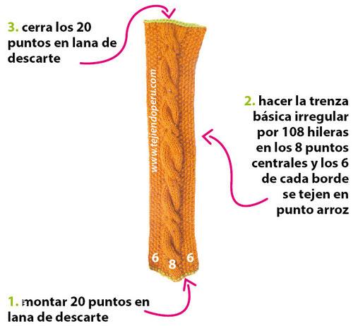 Cómo tejer una boina caída con trenza en dos agujas o palitos