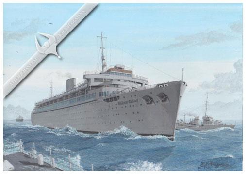 """""""Willhelm Gustloff"""", der Beginn ihrer letzten Reise, 1945, Aquarell"""