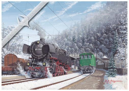 85 006 auf der Höllentalbahn im Bahnhof Hirschsprung 1959, Aquarell.