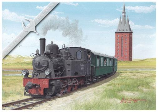 Schmalspordampflok DB 99 211 überquert mit Personenzug die Lagune vor dem Westturm auf Wangerooge, 50er Jahre, Aquarell.
