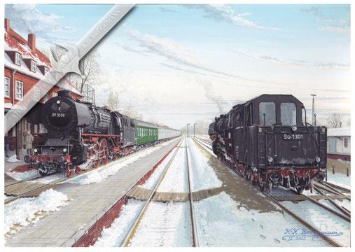 Baureihe 01.10 mit Eilzug trifft Baureihe 50, 1968, Aquarell.
