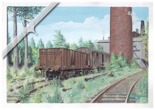 Alte US Güterwagen auf dem Temminggelände, Glückstadt, 60er Jahre, Aquarell