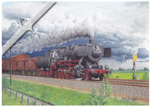 50 3139 am Einfahrtsvorsignal von Siehtwende, in nördlicher Richtung 1965, Aquarell.