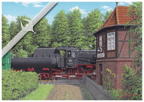 Baureihe 38 am Stellwerk GN, mein erstes Eisenbahnerlebnis, Aquarell.