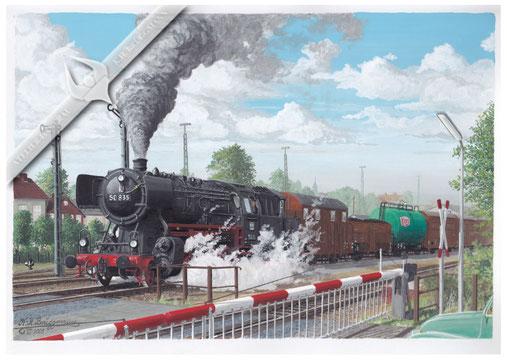 Baureihe 50 mit schwerem Güterzug bei der Anfahrt in Glückstadt 1964, Aquarell