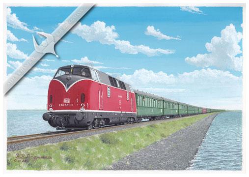 """Diesellok DB 230 001- 8 mit 13 Wagensonderzug """"Nixe"""" auf dem Hindenburgdamm, 1972, Aquarell."""