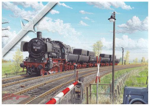 Baureihe 38 mit Wannentenderzug zum Zerlegen im AW Glückstadt, passiert  den Bahnübergang Siehtwende 1959, Aquarell