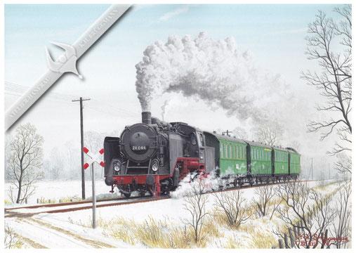 Dampflok. 24 044 Nahverkehrszug Neumünster-Heide am Bahnübergang Rehersweg in Hanerau-Hademarschen 1950, Aquarell.