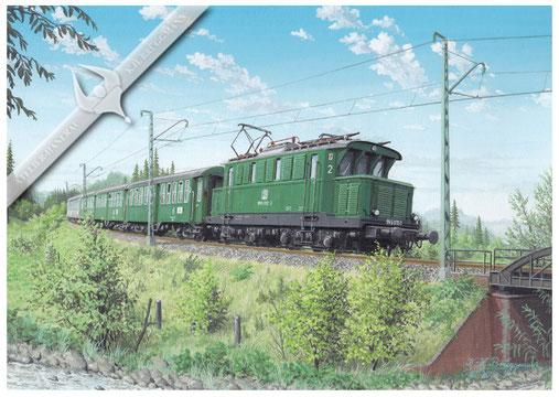 E-Lok Baureihe 145 mit Wendezug Schluchsee-Tittisee, kurz vor Tittisee 1972, Aquarell.