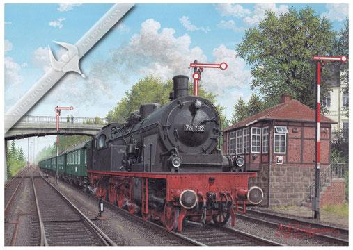 Dampflok, DB 78 182 fährt mit Personenzug in Eutin/Holstein ein, 1960, Aquarell.