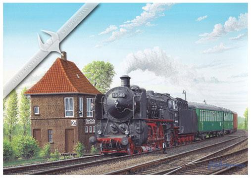 18 505 mit Dienstsonderzug aus Minden, auf der Rückreise von Westerland, passiert das Stellwerk Krempe Süd 1959, Aquarell