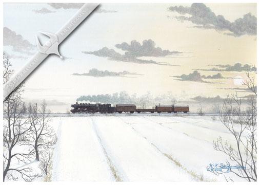 """"""" Lumpensammler """" Baureihe 50 hat Glückstadt in südlicher Richtung verlassen, 1968, Aquarell."""