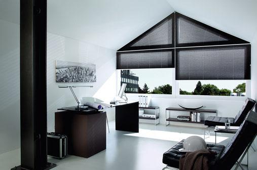 ©Kadeco Plissee schwarz für dreieckige Fenster
