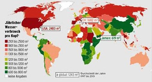 Als «Wasser-Fussabdruck» eines Landes bezeichnet man die Menge Wasser, die für die Produktion von Gütern und Dienstleistungen gebraucht wird, die die Einwohner dieses Landes konsumieren. Rot dargestellte Länder verbrauchen mehr als der globale Durchschnit
