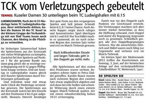 Quelle: Verlag: DIE RHEINPFALZ Publikation: Westricher Rundschau Ausgabe: Nr.118 Datum: Dienstag, den 22. Mai 2012 Seite: Nr.14