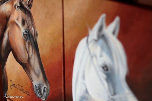 Pferdegemälde in Acryl, Quarter Horse, Araber