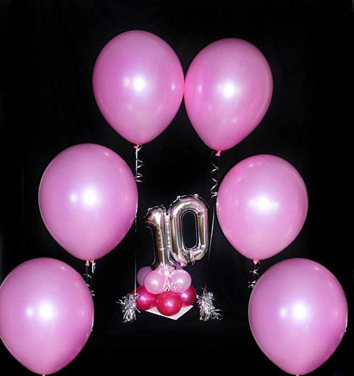 Ballon Latexballon Luftballon XXL 16 inch 40 cm rosa Heliumballon Geburtstag 10 Mädchen Alter Überraschung Deko Dekoration Versand Paket verschicken Helium Party Feier Geburtstagsparty Kindergeburtstag