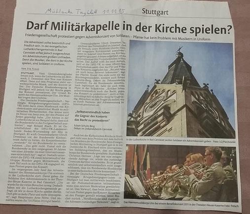 Mühlacker Tagblatt, 11.11.2015, zum Vergrößern anklicken!