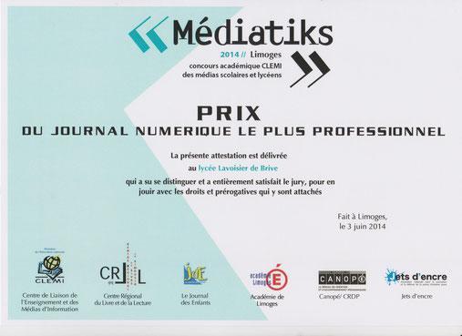 Prix Mediatiks 2014 remis le mardi 03 juin 2014 par le CLEMI au LVSblog à Limoges