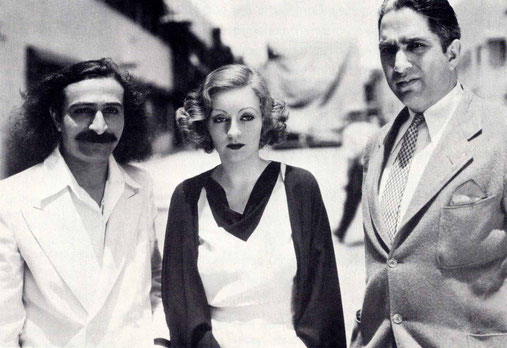 31st May, 1932 : Paramount Studios, Hollywood, CA. Meher Baba with Tallulah Bankhead & Lal C. Mehra.