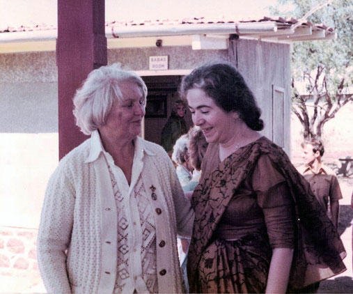 Lady Dorothy Hopkinson with Mani S. Irani in 1976. Jacko Caraco in background, right.  Photo by Kendra Crossen Burroughs