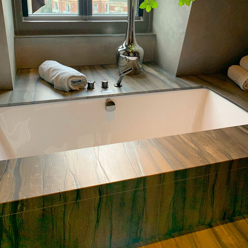 Sequoia Brown granite bathroom
