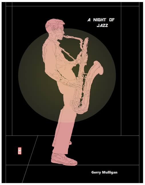 課題はポスター画 a naight of jazz