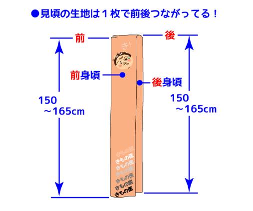 着物をバラした状態で見頃の部分の長さをわかりやすく表した図。一般的に前後とも150~165cmであるが、実は1枚の布でできているため300~330cmの長さがある!図