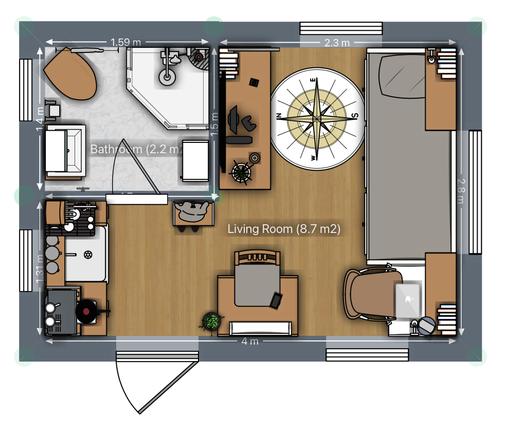 Mini Tiny House Grundriss mit Inneneinrichtung